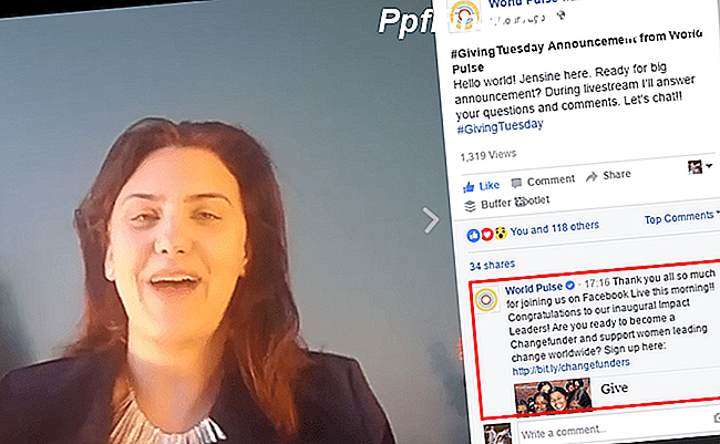 Eine Giving Tuesday Ankündigung von World Pulse via FacebookLive.